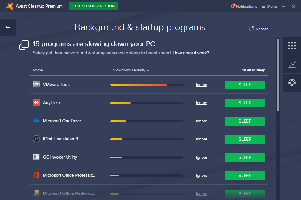 Avast Cleanup Premium Background and Startup Programs screen
