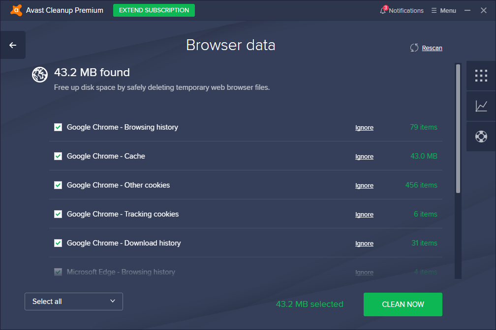 Avast Cleanup Premium browser data page