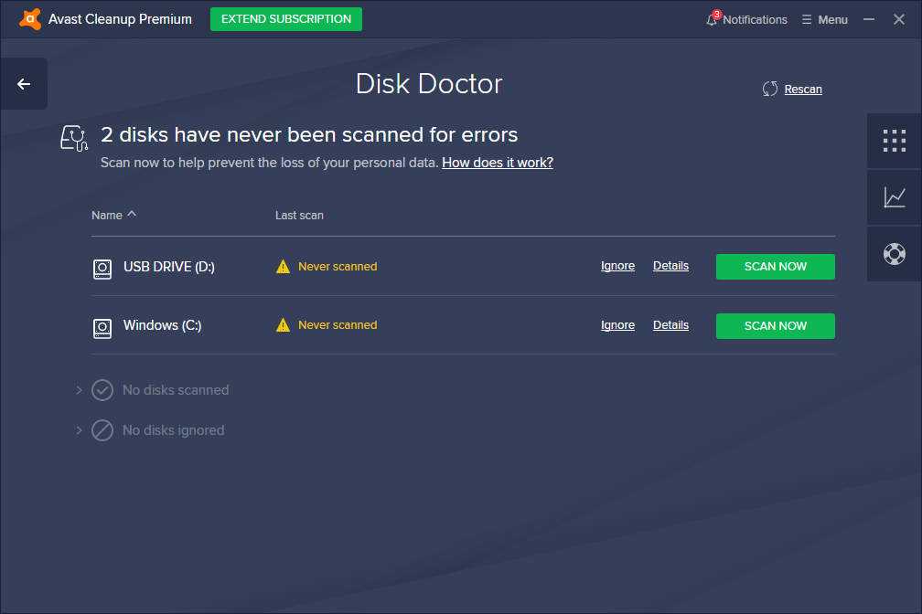 Avast Cleanup Premium Disk Doctor page