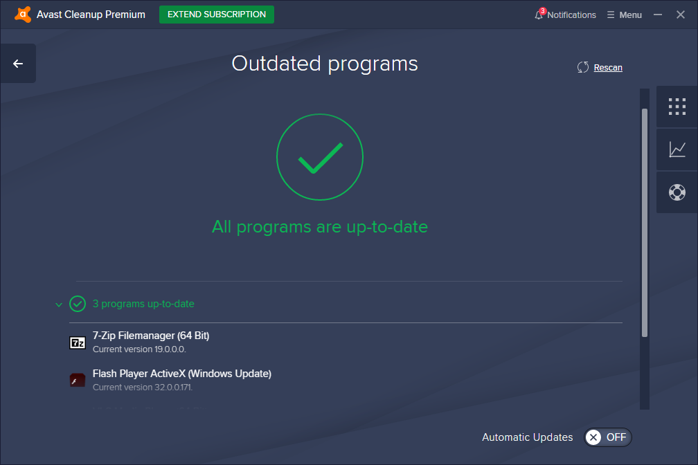 Avast Cleanup Premium outdated programs page