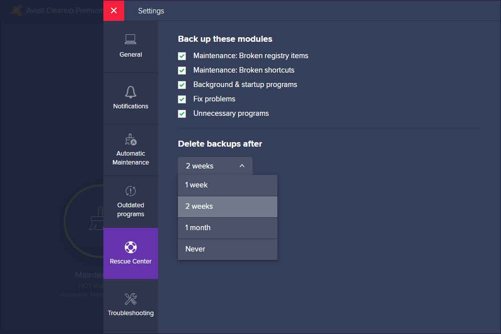 Avast Cleanup Premium Rescue Center settings