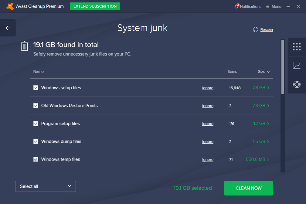 Avast Cleanup Premium System Junk page