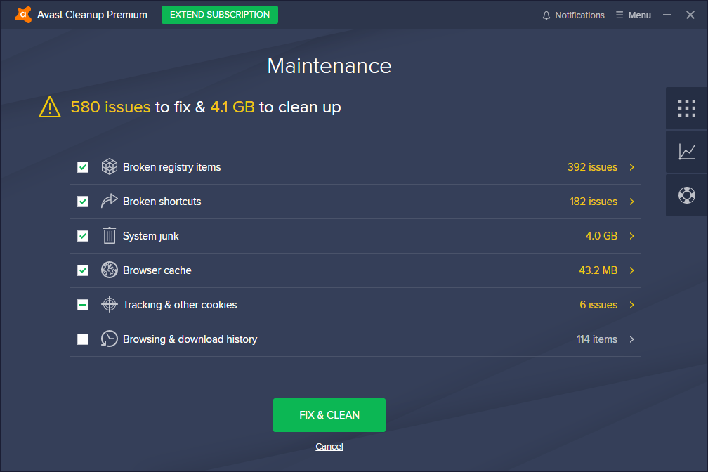 Avast Cleanup Premium scan results