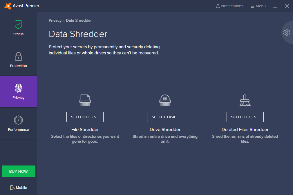 Avast Premier Data Shredder