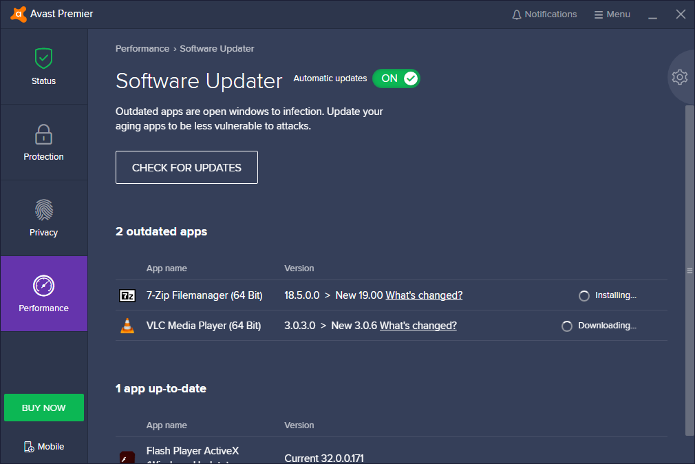 Avast Premier Software Updater
