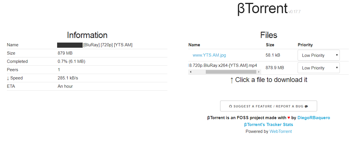 βTorrent online torrent client