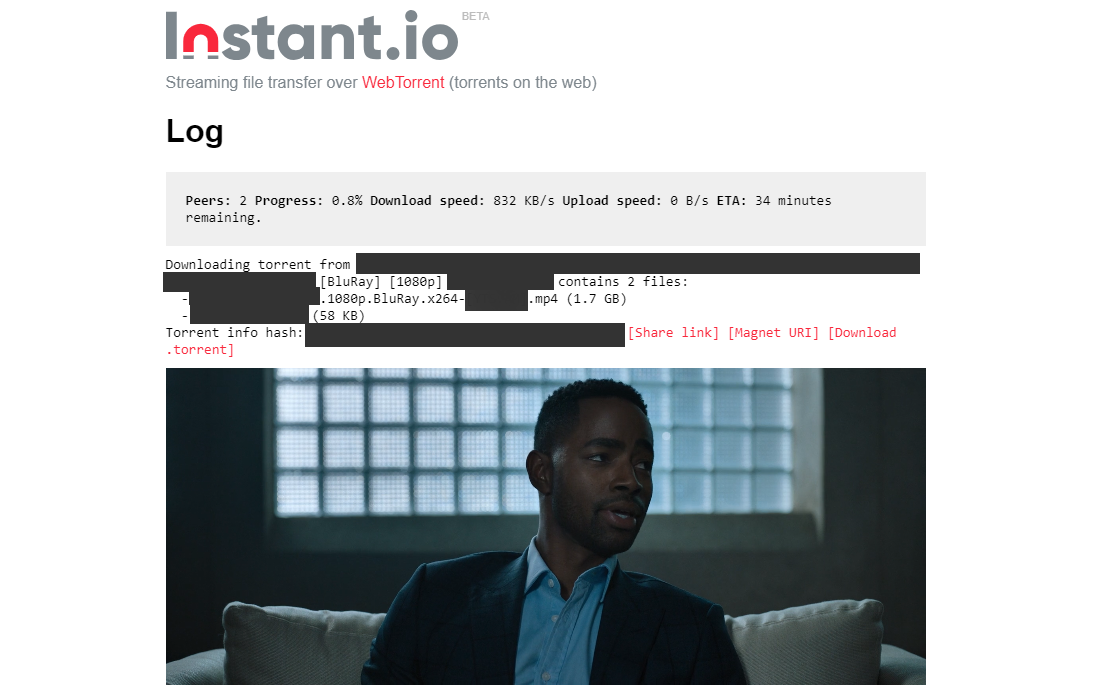 Instant.io torrent client streaming a movie