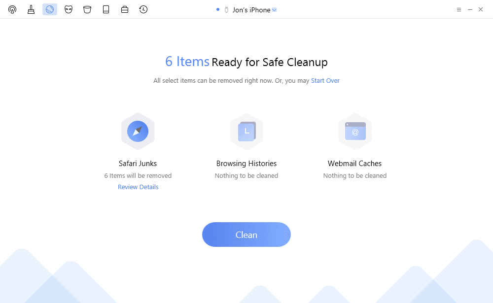 PhoneClean Pro Safe Cleanup page