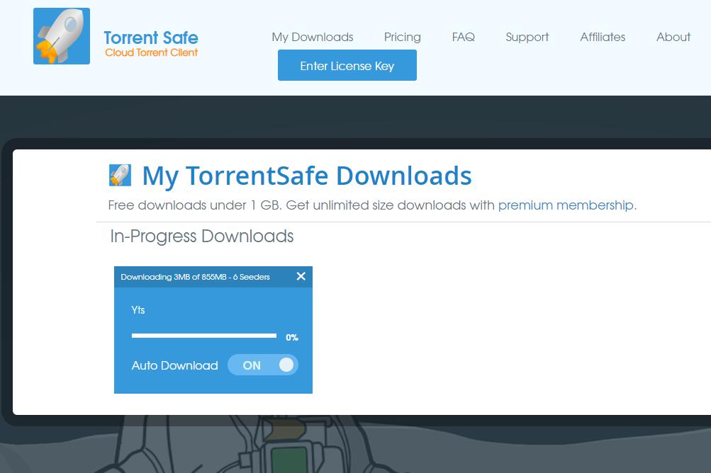 Torrent Safe website downloading a torrent