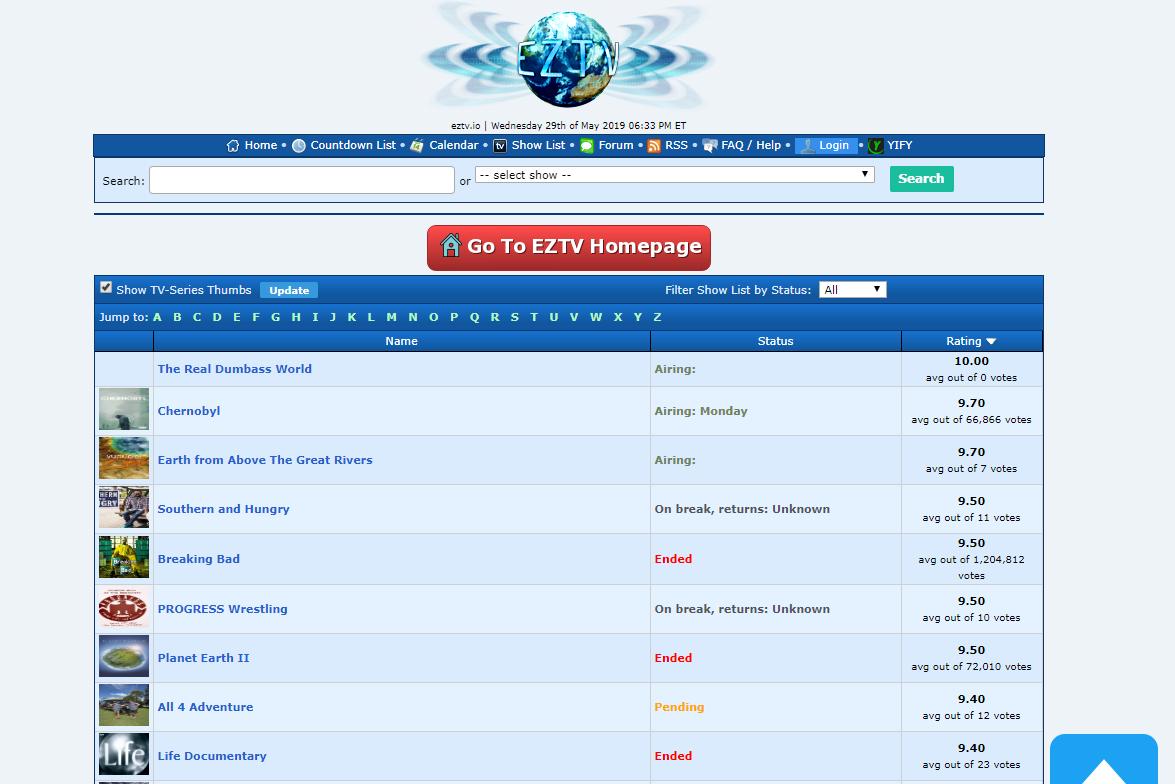 EZTV show list page
