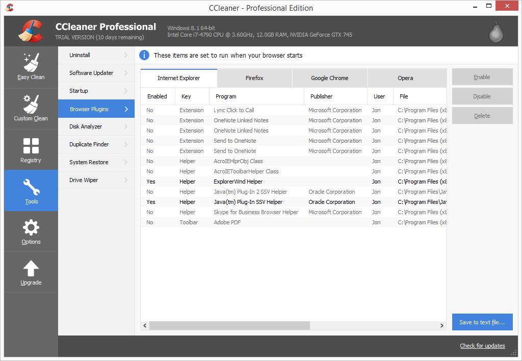 CCleaner Pro browser plugins list