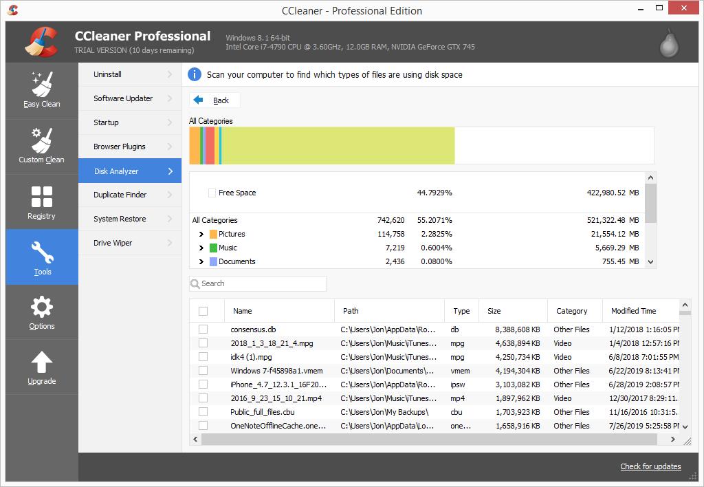 CCleaner Pro disk analyzer
