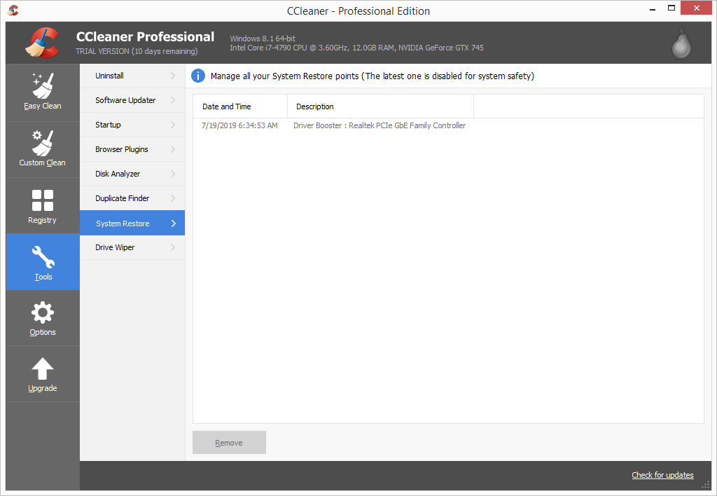 CCleaner Pro system restore screen