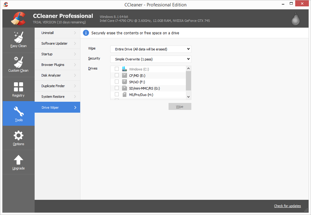 CCleaner Pro drive wiper