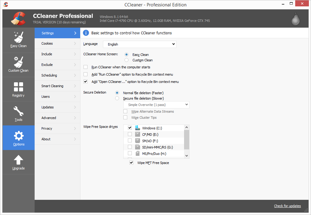 CCleaner Pro options