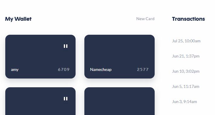 Privacy.com virtual card list