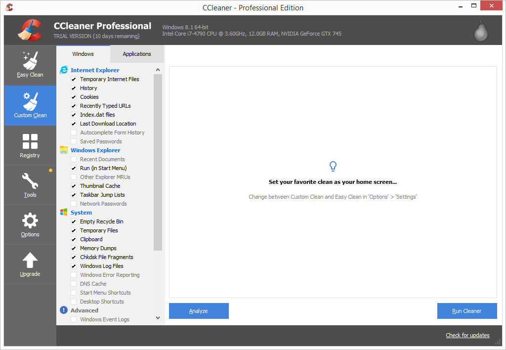 CCleaner Pro custom clean page