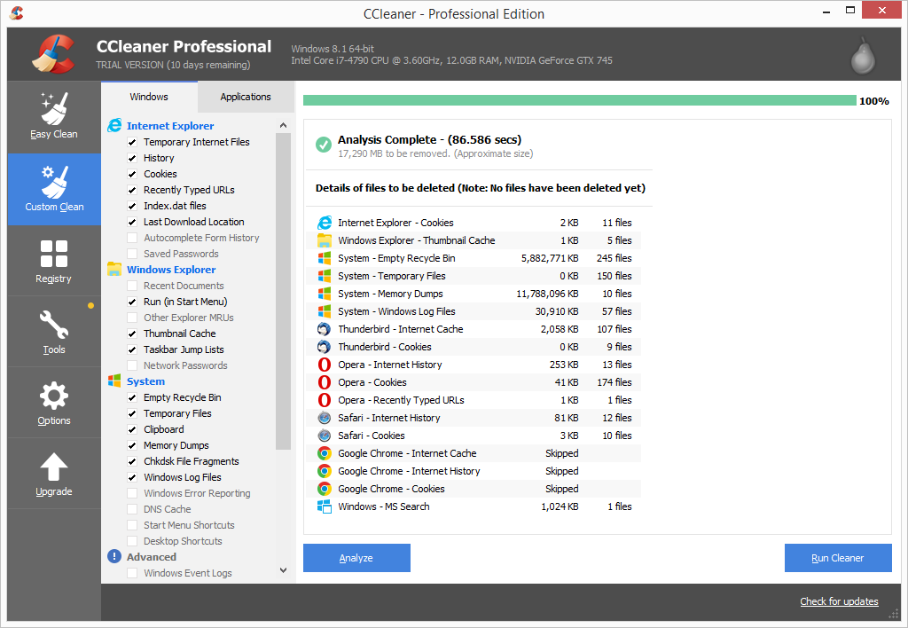 CCleaner Pro custom clean analysis results