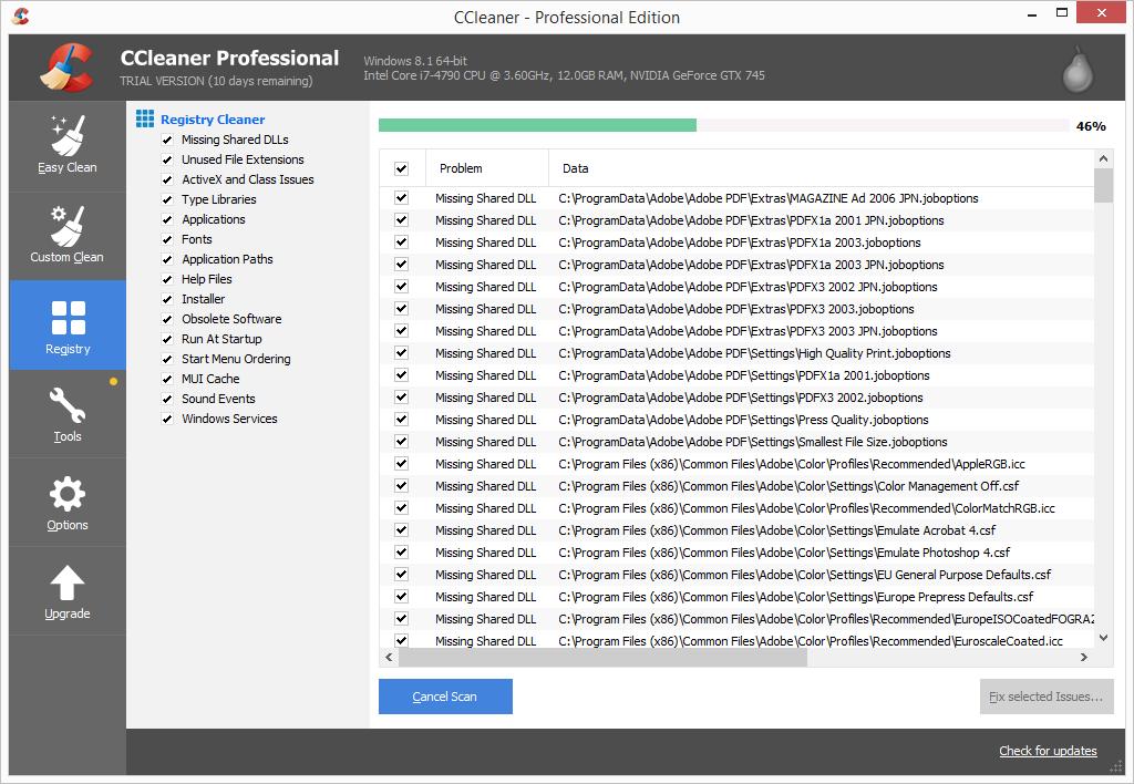 CCleaner Pro registry cleaner scan