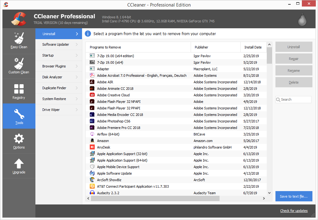 CCleaner Pro tools page