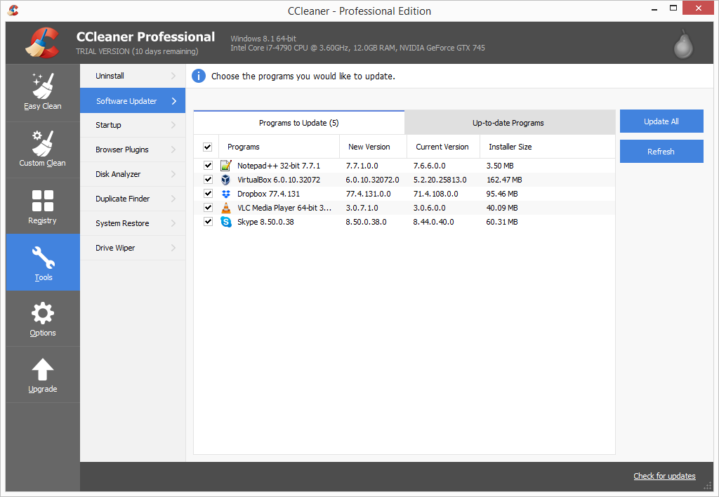 CCleaner Pro software updater