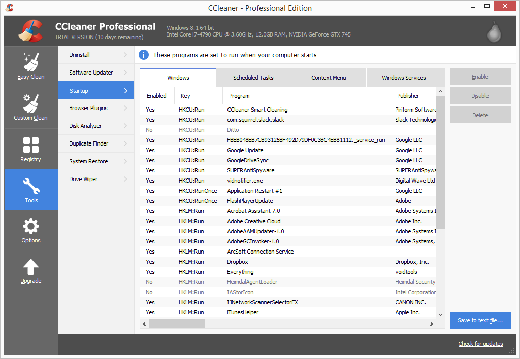 CCleaner Pro startup items