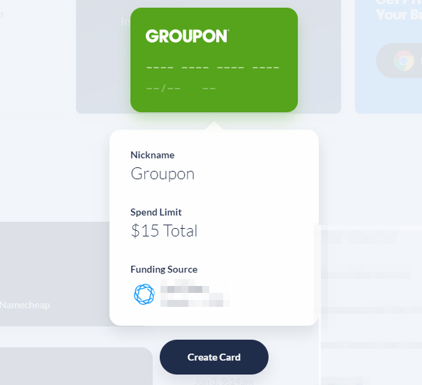 Privacy.com create card option