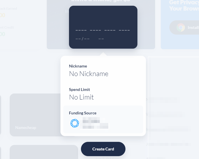 Privacy.com virtual card creator