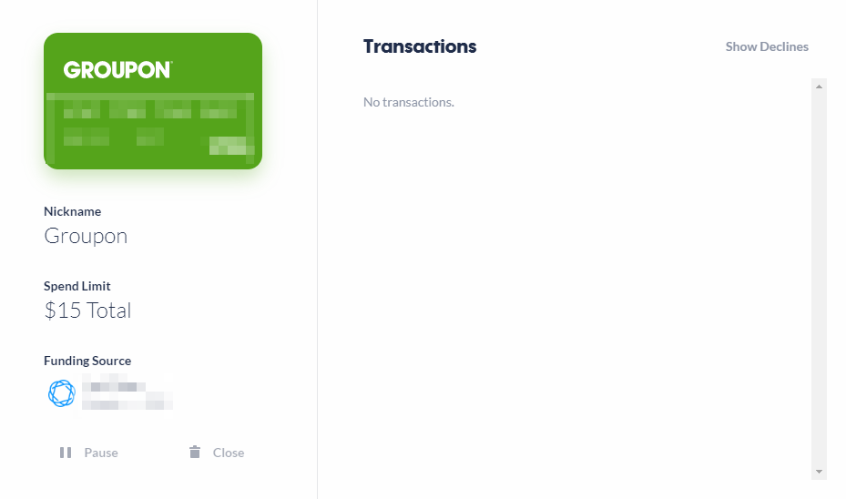 Privacy.com new virtual card