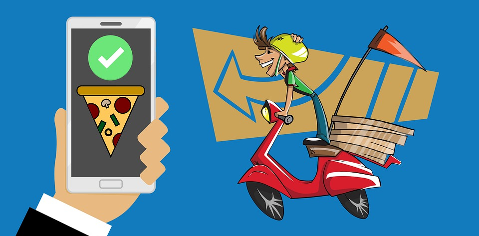 Food delivery app and driver illustration