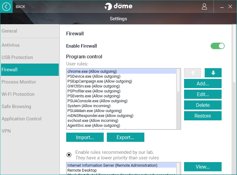 Panda Dome Essential firewall settings