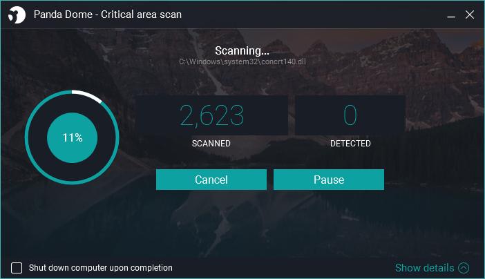 Panda Dome Essential Critical Scan screen