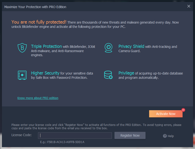 IObit Malware Fighter pro license code screen