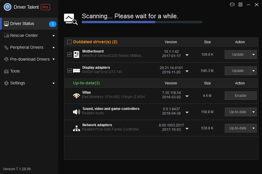 Driver Talent Status screen