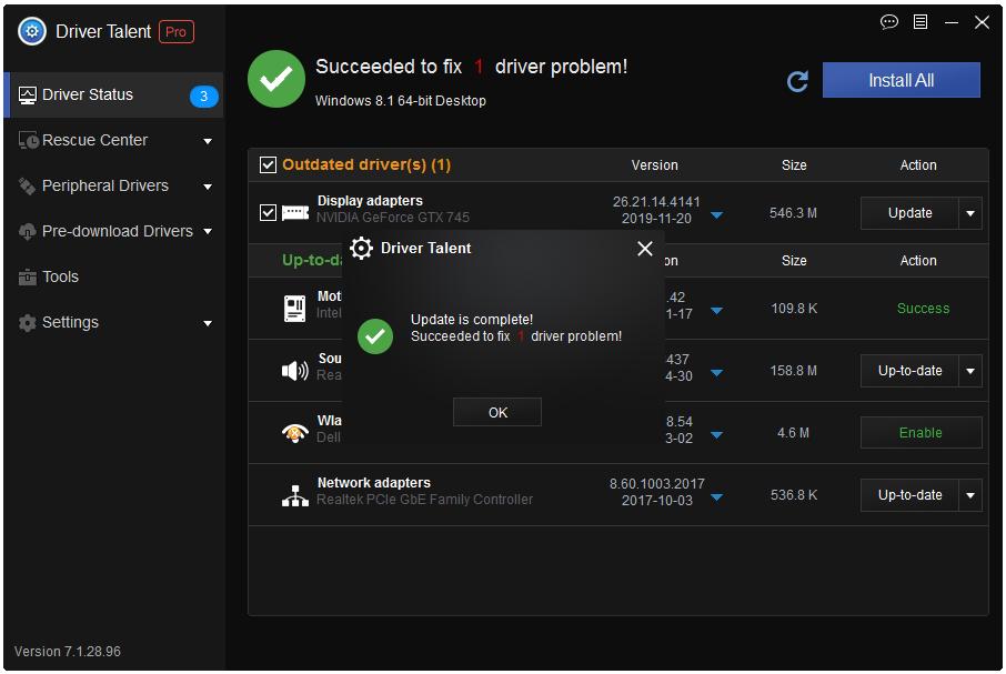 Driver Talent update success message