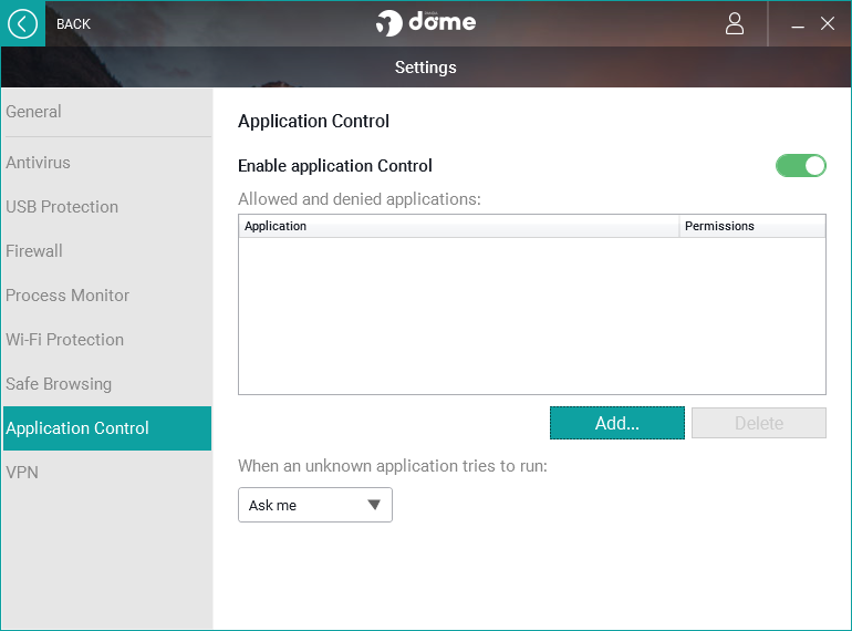 Panda Dome Essential Application Control settings