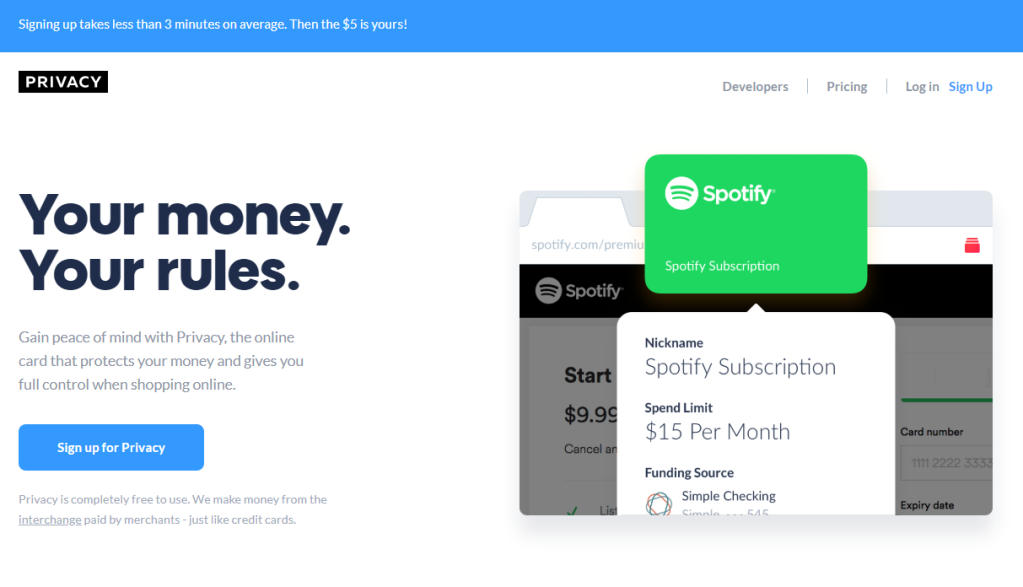 Privacy.com free money page