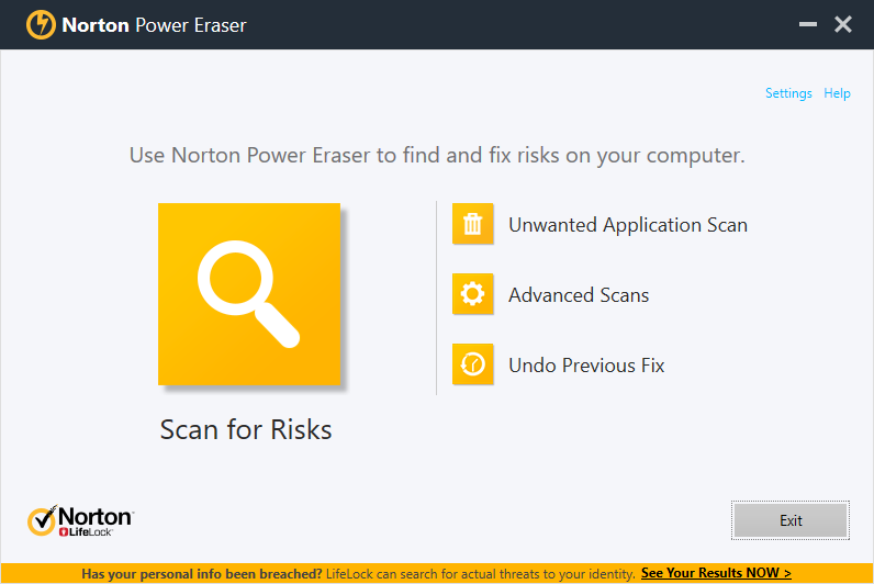 Norton Power Eraser portable virus scanner