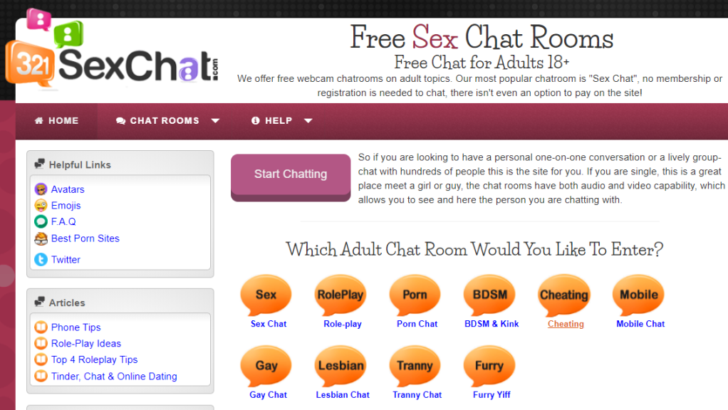 321Chat adult rooms