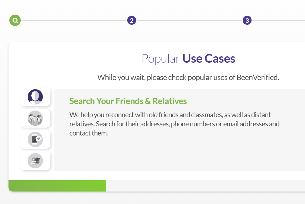 BeenVerified free people search progress
