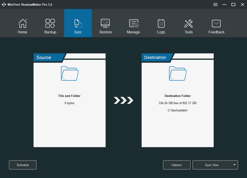 MiniTool ShadowMaker Pro Sync tab