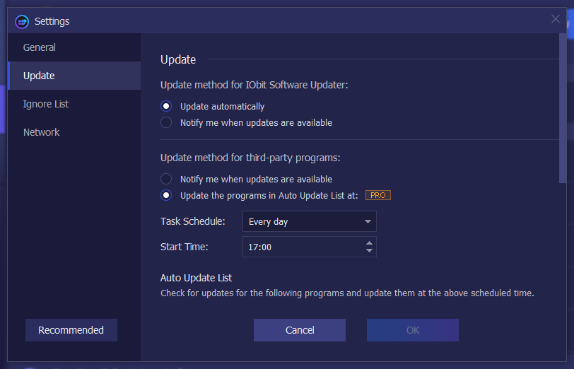 IObit Software Updater Pro update settings