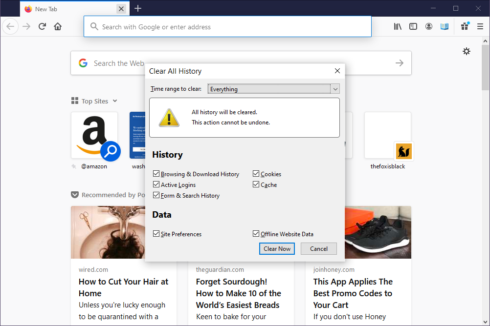 Firefox clear all history screen