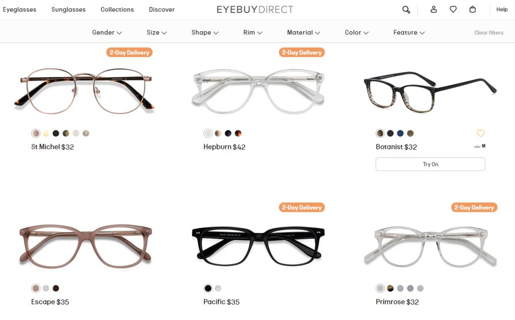 EyeBuyDirect online eyeglasses