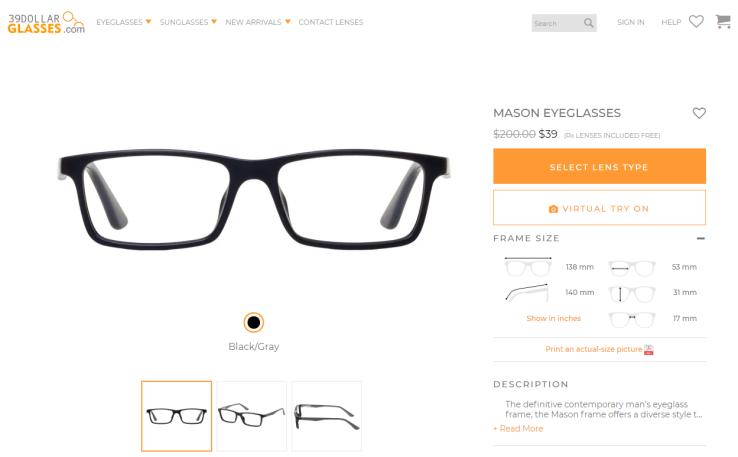 39DollarGlasses website