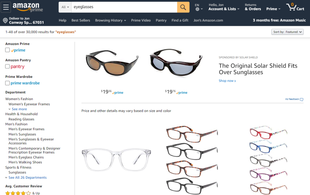 Eyeglasses on Amazon