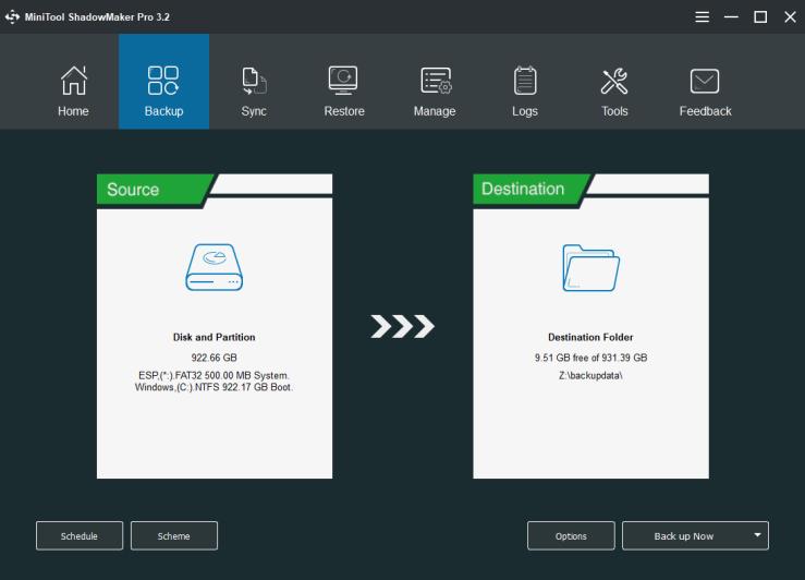 MiniTool ShadowMaker Pro backup screen