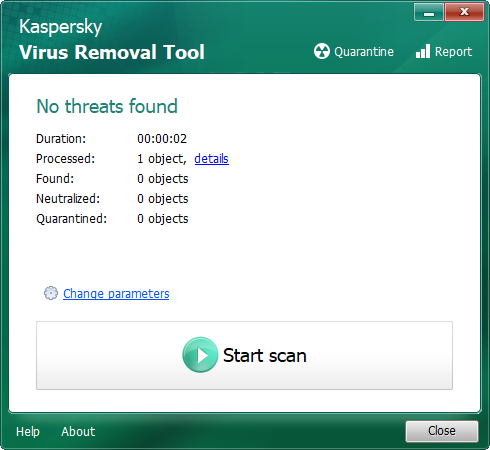 The Kaspersky portable virus removal tool