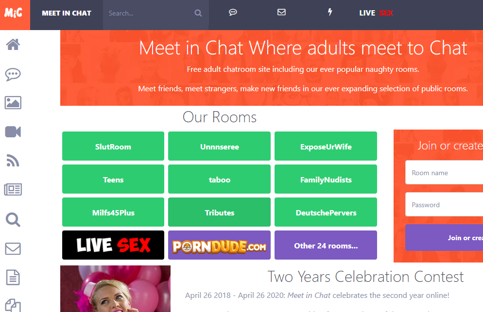 Meet In Chat adult chat room website
