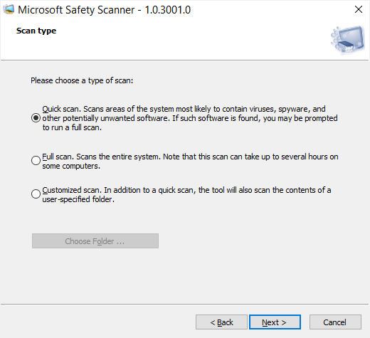 Microsoft Safety Scanner portable virus checker